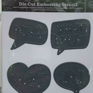 Die Cut Embossing Stencil Hello Thank You 5/$25